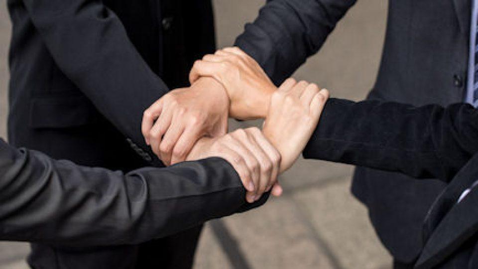 Businessman teamwork collaboration relation concept. Business partnership meeting concept